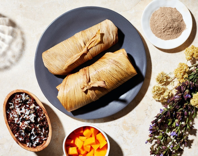 Tamales with Cricket Masa and Braised Bison by Sean Sherman, The Sioux Chef of Minnesota. Made with Seek's Pure Cricket Flour.