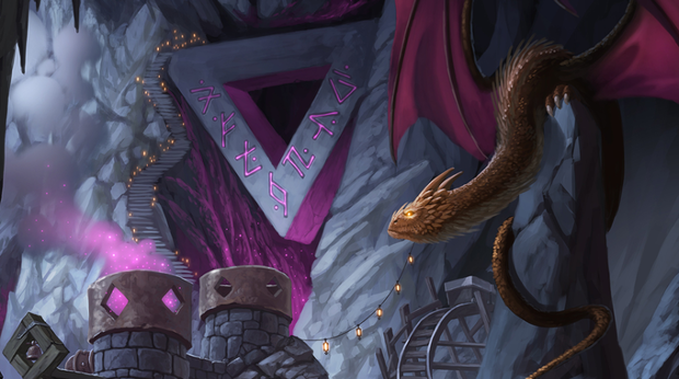 A young dragon overlooking a dwarven magic refinery