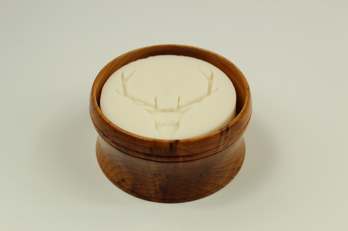 Yew Shaving Bowl with Sandalwood Soap