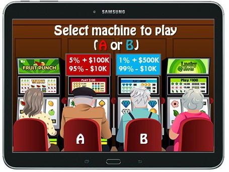 Example of 'casino area': players make wagers with money earned (decision-making gaming modules)