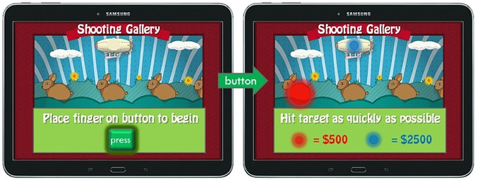 Example of 'shooting-gallery area': players use money earned to pay for chance to win prizes (sensorimotor gaming modules)