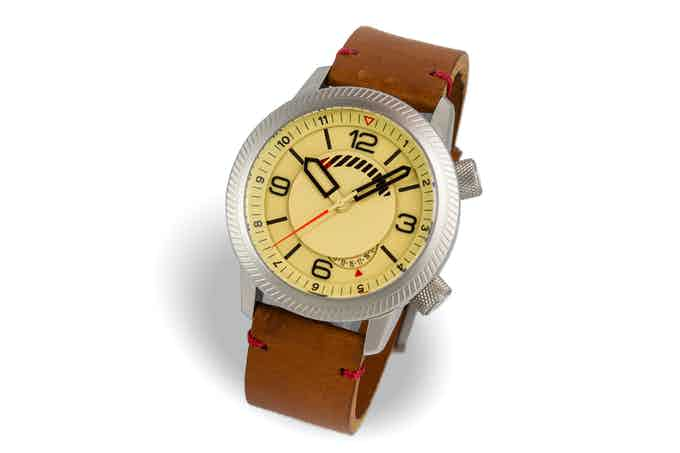 Steel case, sand dial, tan strap