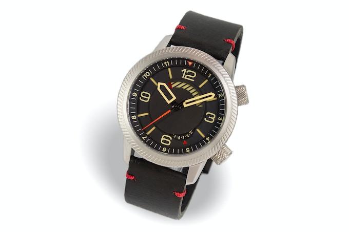 Steel case, black dial, black strap