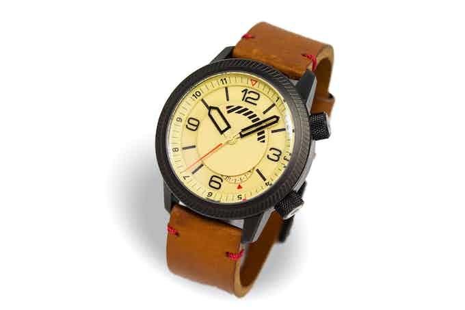 DLC case, sand dial, tan strap