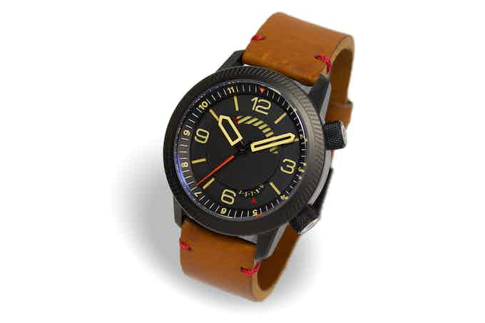 DLC case, black dial, tan strap