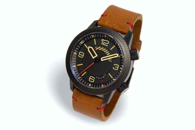 DLC case, black dial, tan strap