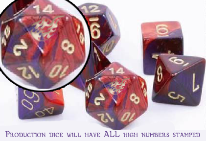 The wizard's fireball will be stamped on the high number for EACH dice in the set