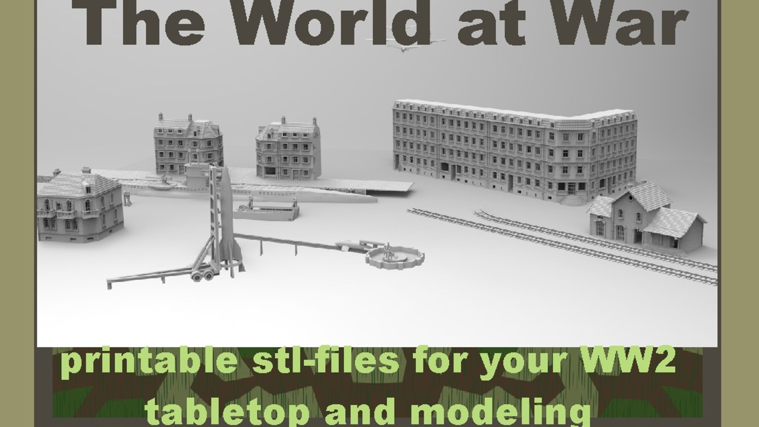 WW2 printable terrain for tabletop and modeling by 3D-Print-Terrain