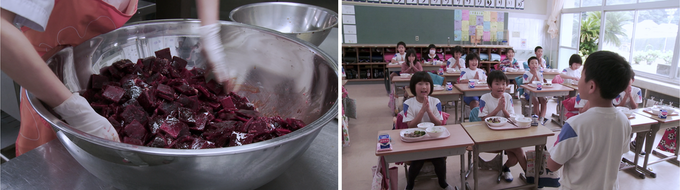 At Taiji elementary school, fried whale meat is served at school lunch once a month.