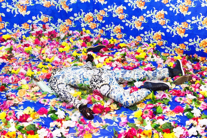 Ebony G. Patterson, Untitled (Among the weeds, plants, and peacock feathers), 2015, limited edition digital print