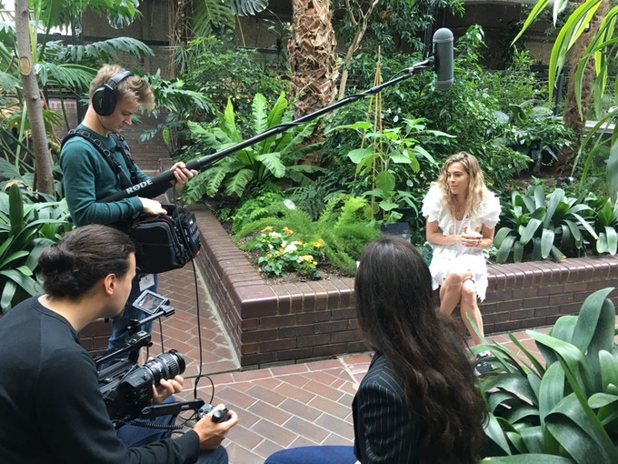Caroline interviewing Chelsea at Cannabis Europa in the Barbican Centre, in preparation for her patients panel discussion later that day.