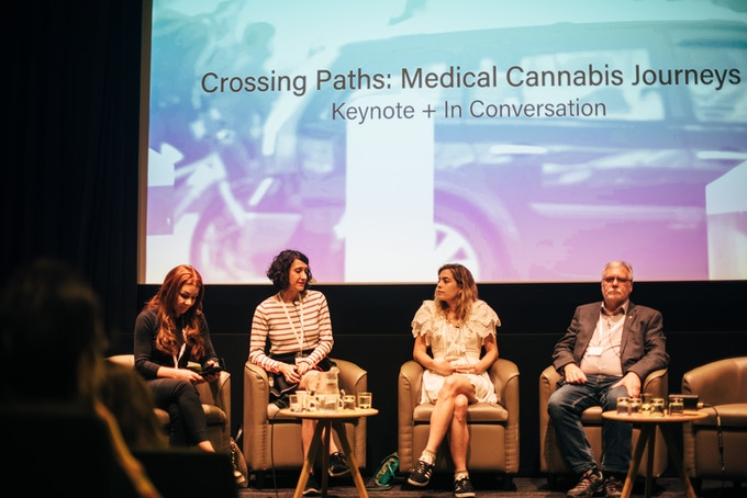 Keynote Patients Panel at Cannabis Europa, (from the left: Charlotte Caldwell, Carola Perez, Chelsea Leyland, Tom Curran)