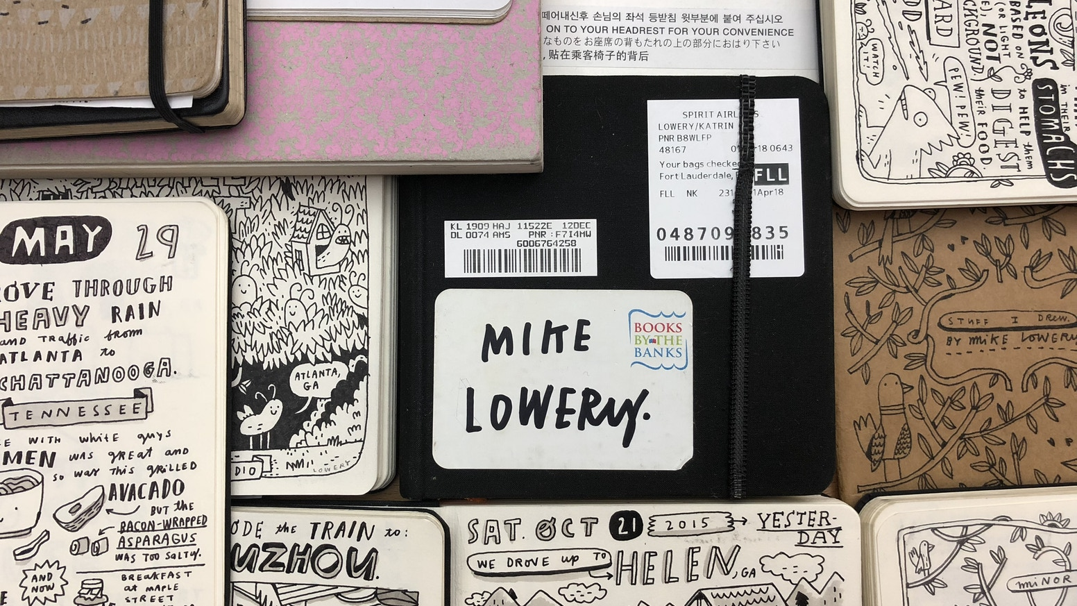 A book that collects travel drawings and comics from the sketchbooks of Mike Lowery.