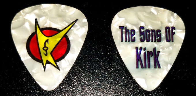 The Sons of Kirk official guitar pick, front and back