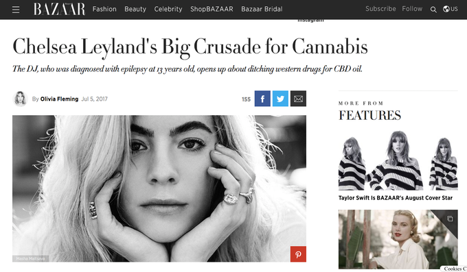 Profile piece in US Harper's Bazaar about Chelsea's big crusade for cannabis.