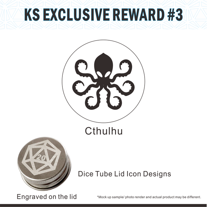 Cthulhu icon design on the Dice Tube lid