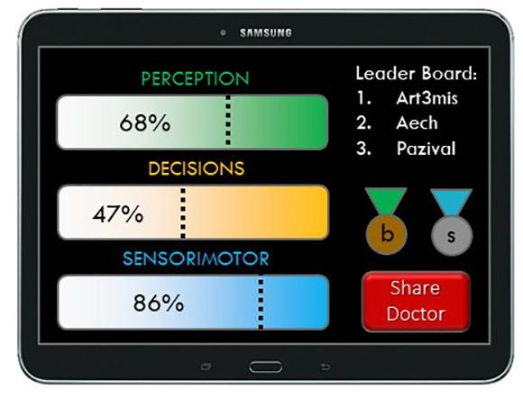 Example 'Patient View' of final scoring screen