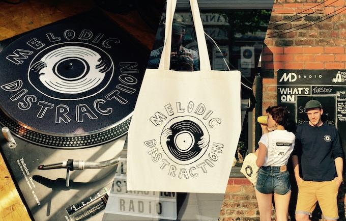Our Range of Merch; slipmat, tote bag, t-shirts.
