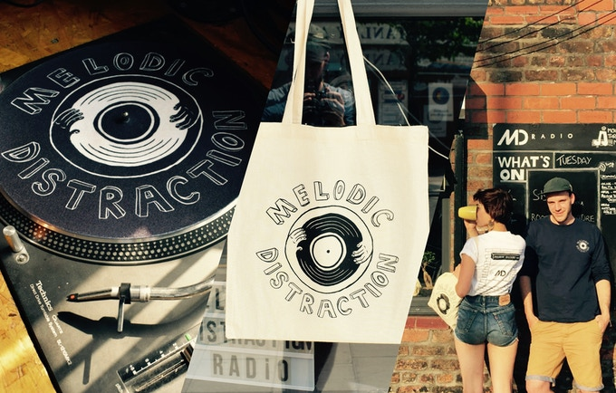 Our Range of Merch; slipmat, tote bag, t-shirts.