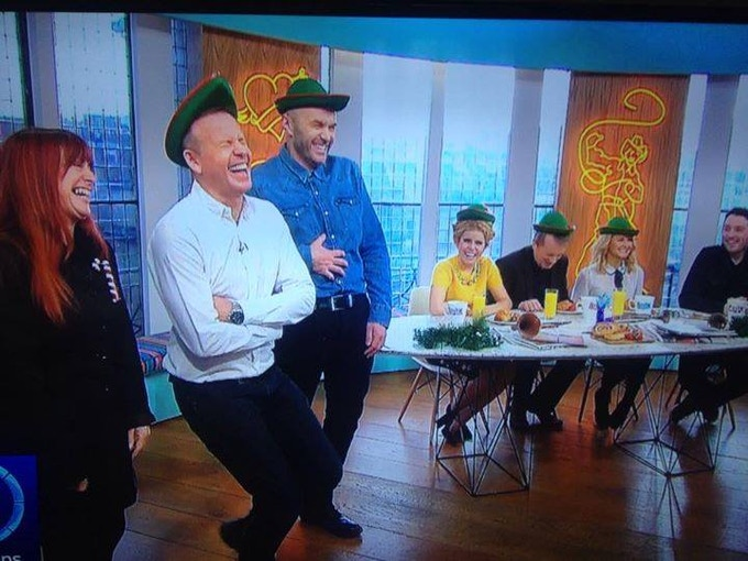 Teaching Simon and Tim plus guests to yodel on Sunday Brunch