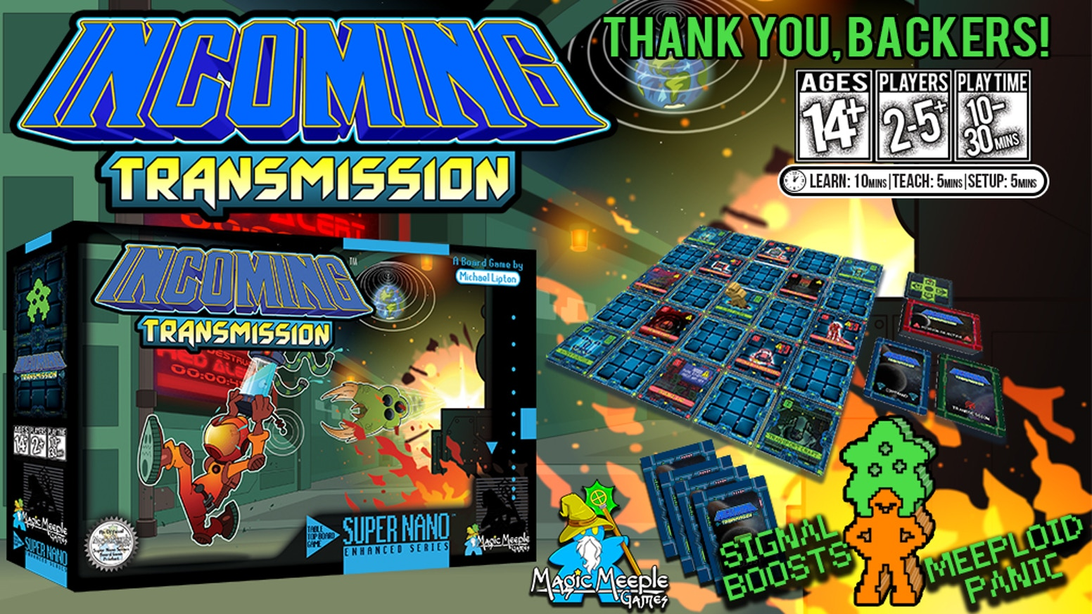 INCOMING TRANSMISSION - 16-bit inspired cooperative puzzle game for 2-5 or more players in 10-30min by the designer of Fire of Eidolon
