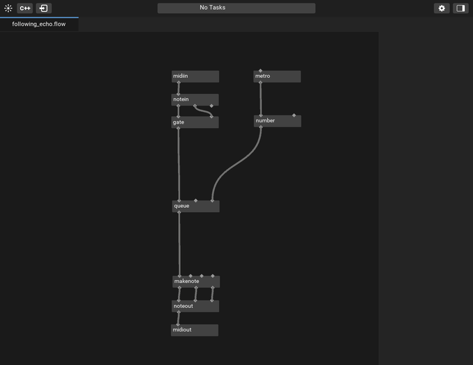 midiglue editorのモックアップ。記述されているプログラムは、冒頭の動画最後のデモ演奏で用いているエフェクトのものです。
