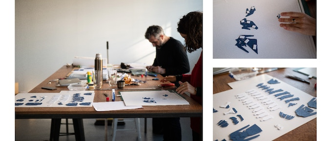 Our team hard at work on the animation – yep, we cut out each and every bottle!
