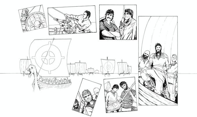 The Vikings arrive! Artwork by Daniel Bell