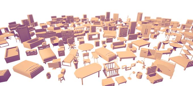 Damit dieser organisch und vielfältig wird, fertigen wir eine Vielzahl von Einrichtungsgegenständen an, mit denen der Spieler interagieren kann.