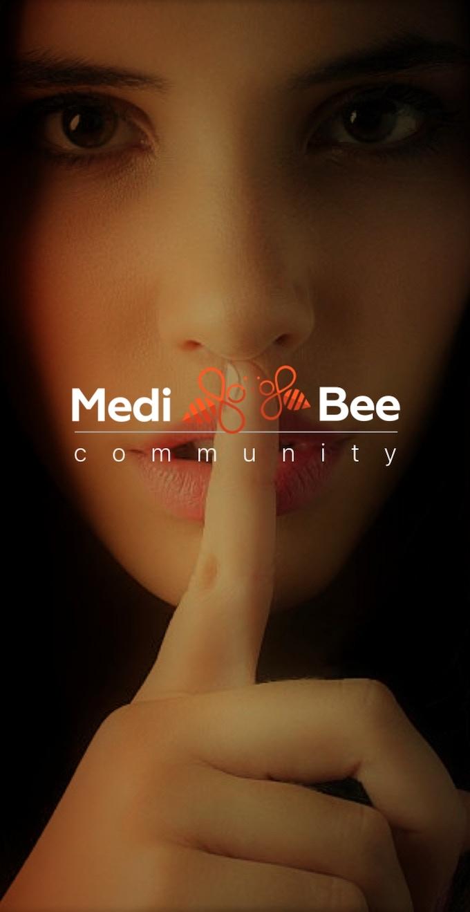 This is the splash screen of the MediBee Community app.