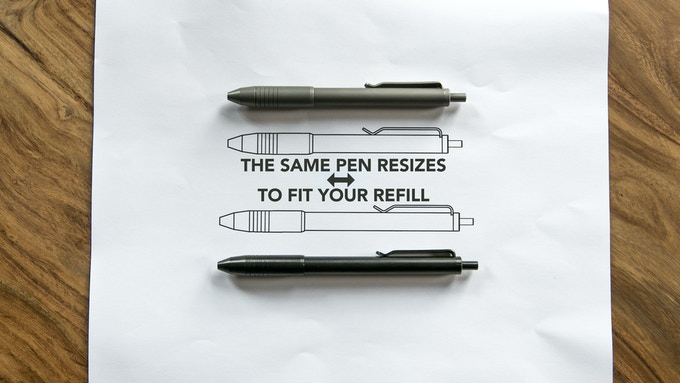 The same pen will transform in length to fit your refills