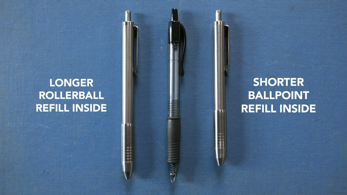 G2 pen shown in the middle for visual reference