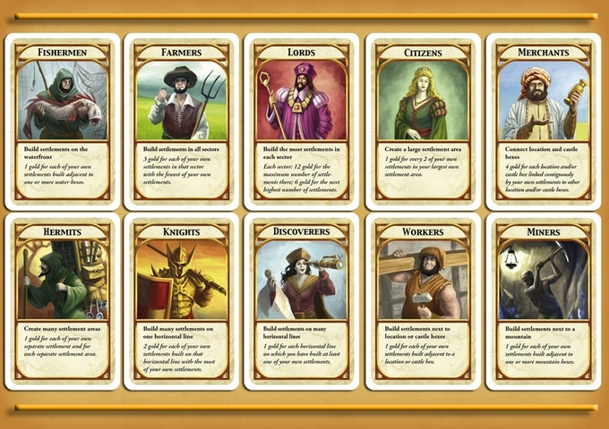 10 Kingdom Builder cards from the base game.