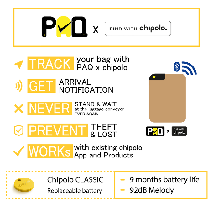 PAQ now ships with a dedicated chipolo socket