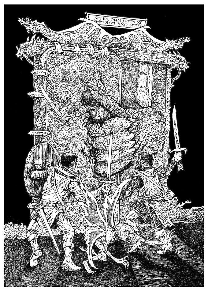 Russ Nicholson's depiction of adventurers at the Silver Portal.