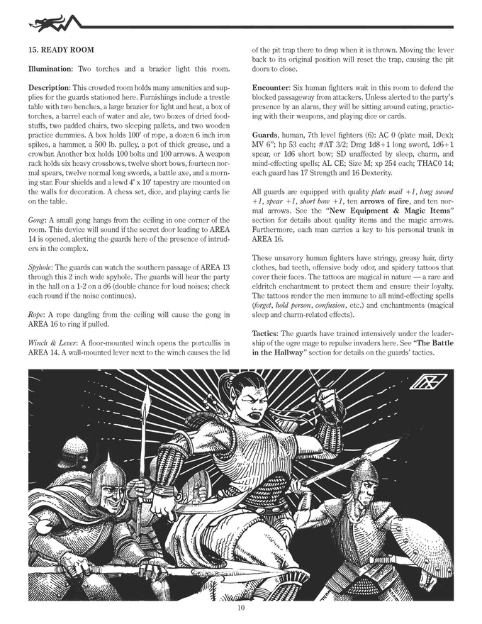 A sample page from DD2 Dungeons of the Dread Wyrm.