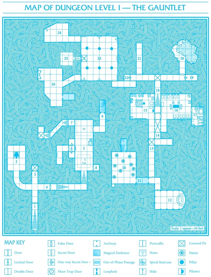 A map of a dungeon level in classic dungeon blue.