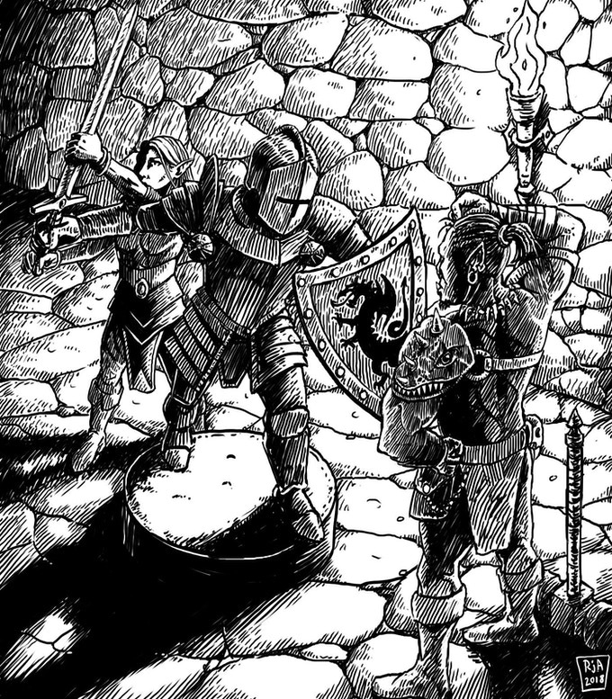 Ryan Jack Allred's depiction of adventurers inspecting a strange statue.