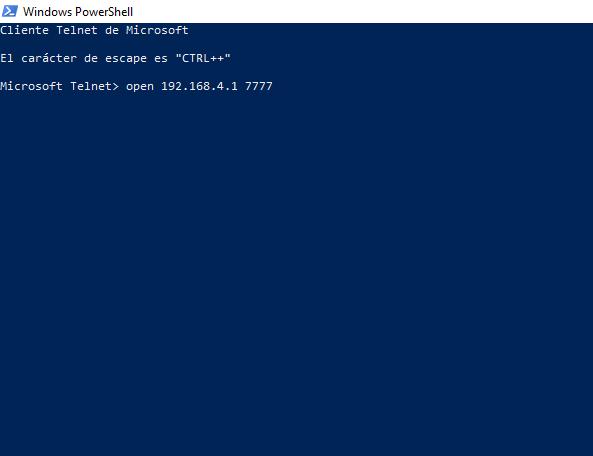 Opening Telnet port on 192.168.4.1 7777