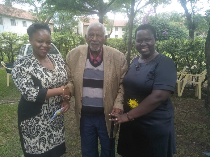Susan and Mary with Gitu wa Kahengeri, Chairman of the Mau Mau War Veterans' Association