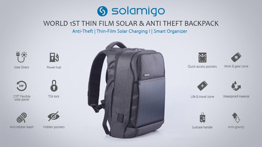Solamigo,The World 1st Thin Film Solar& Anti Theft Backpack