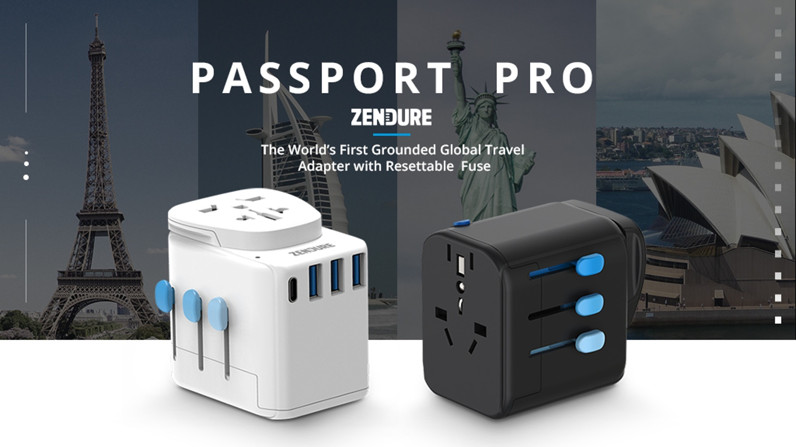 World's 1st Resettable Grounded Travel Adapter with USB-C PD Fast Charging for all your travel essentials i.e. iPhone X, MacBook, etc.