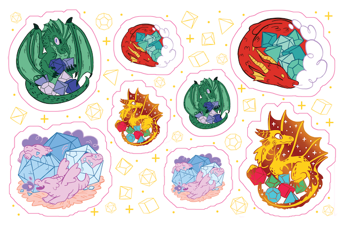 Pink lines are to indicate where the sticker sheets will be kiss-cut. Cut out the little dice for maximum stickertude per sheet!