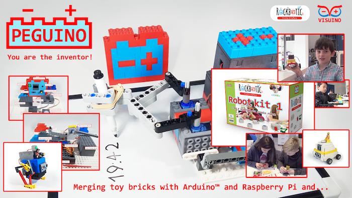 Peguino bricks merges bricks + Arduino™ together to create a seamless endless range of possibilities. Including a visual software editor