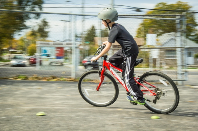 Student riding in Ride Smart program, over 4000 students trained to date