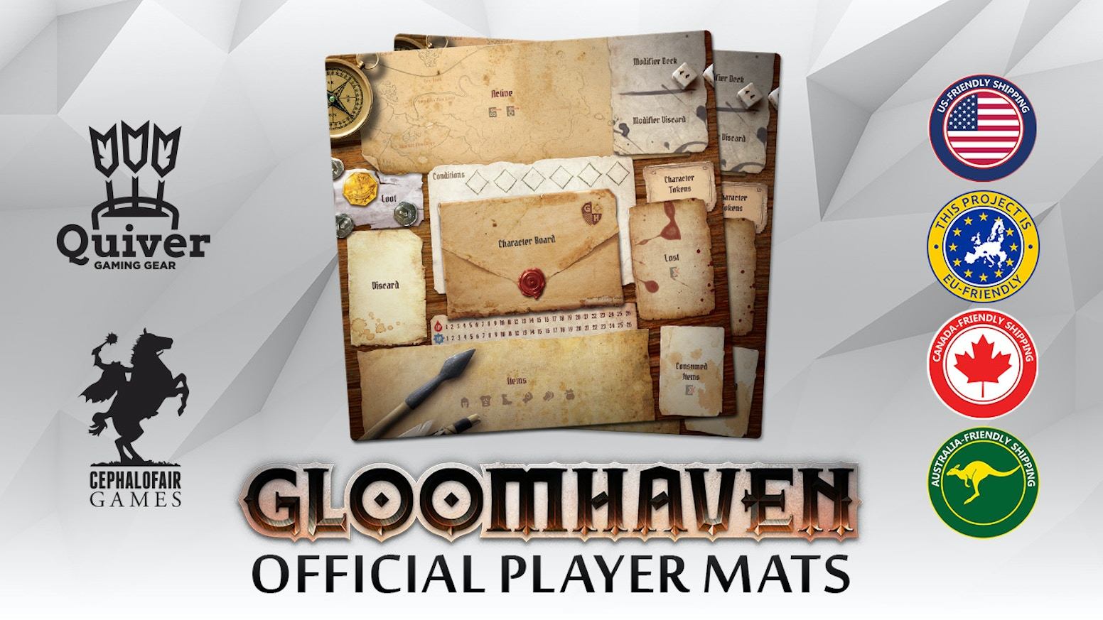 Officially licensed individual player mats for the massive hit board game: Gloomhaven