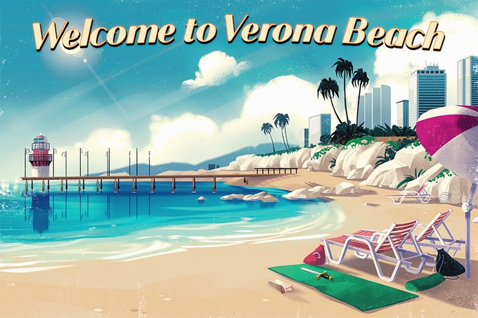 Receive a dev-signed postcard from Verona Beach! Available in the Long Distance Relationship tier and above.