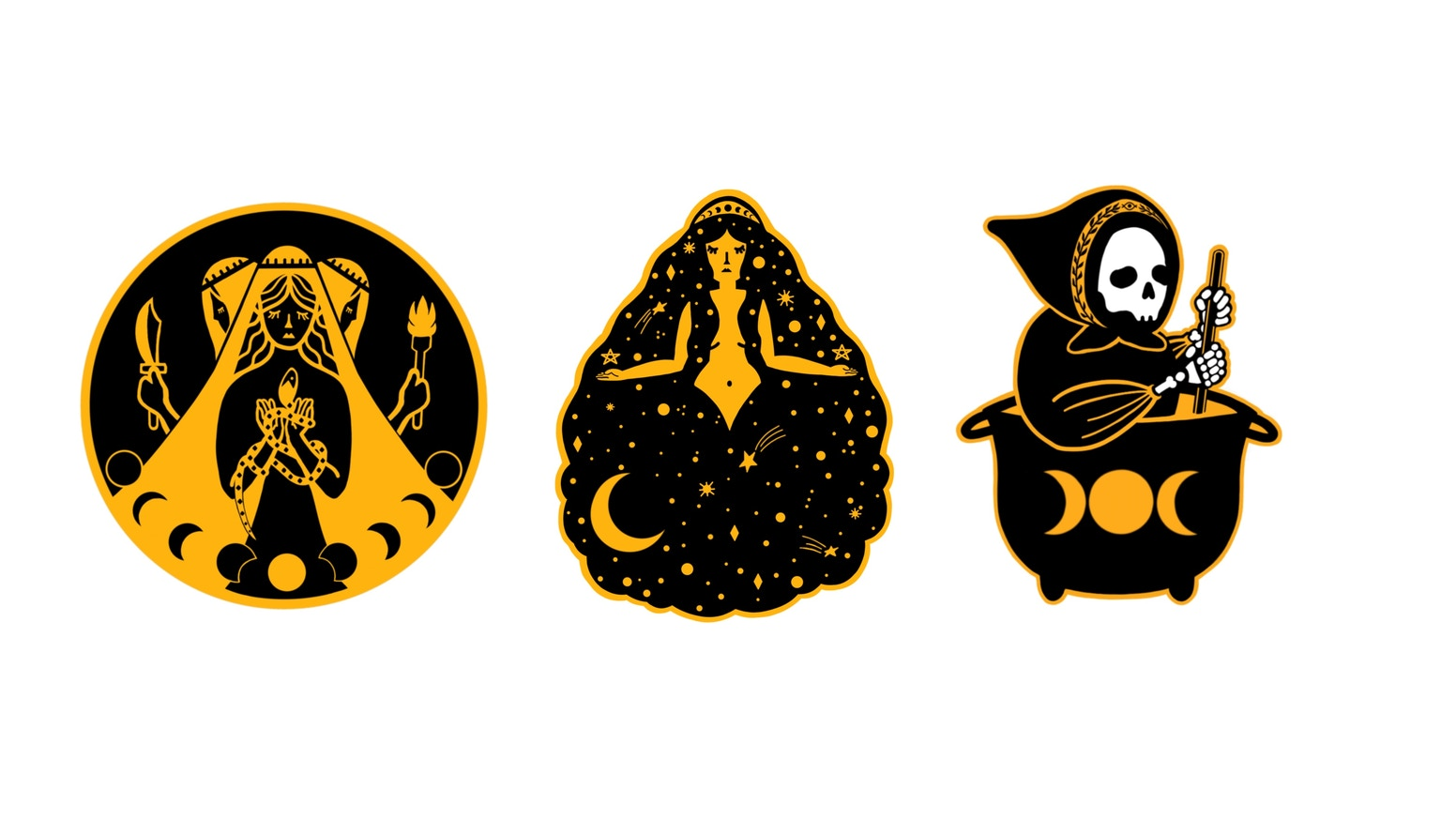 Maiden Mother Crone Women Of Ancient Magic Enamel Pins By Katie
