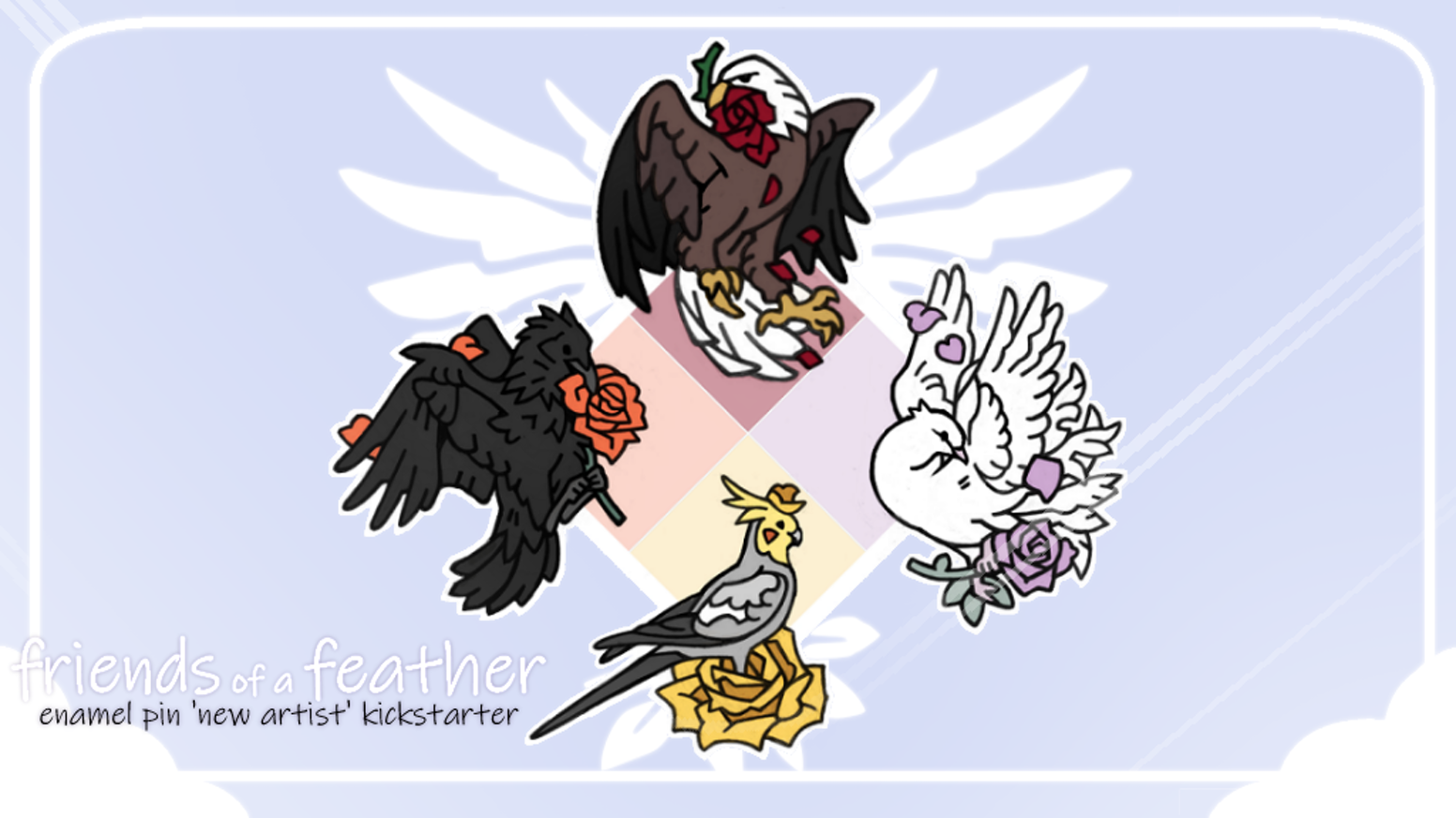 Friends Of A Feather Enamel Birds And Roses Pins By Quill