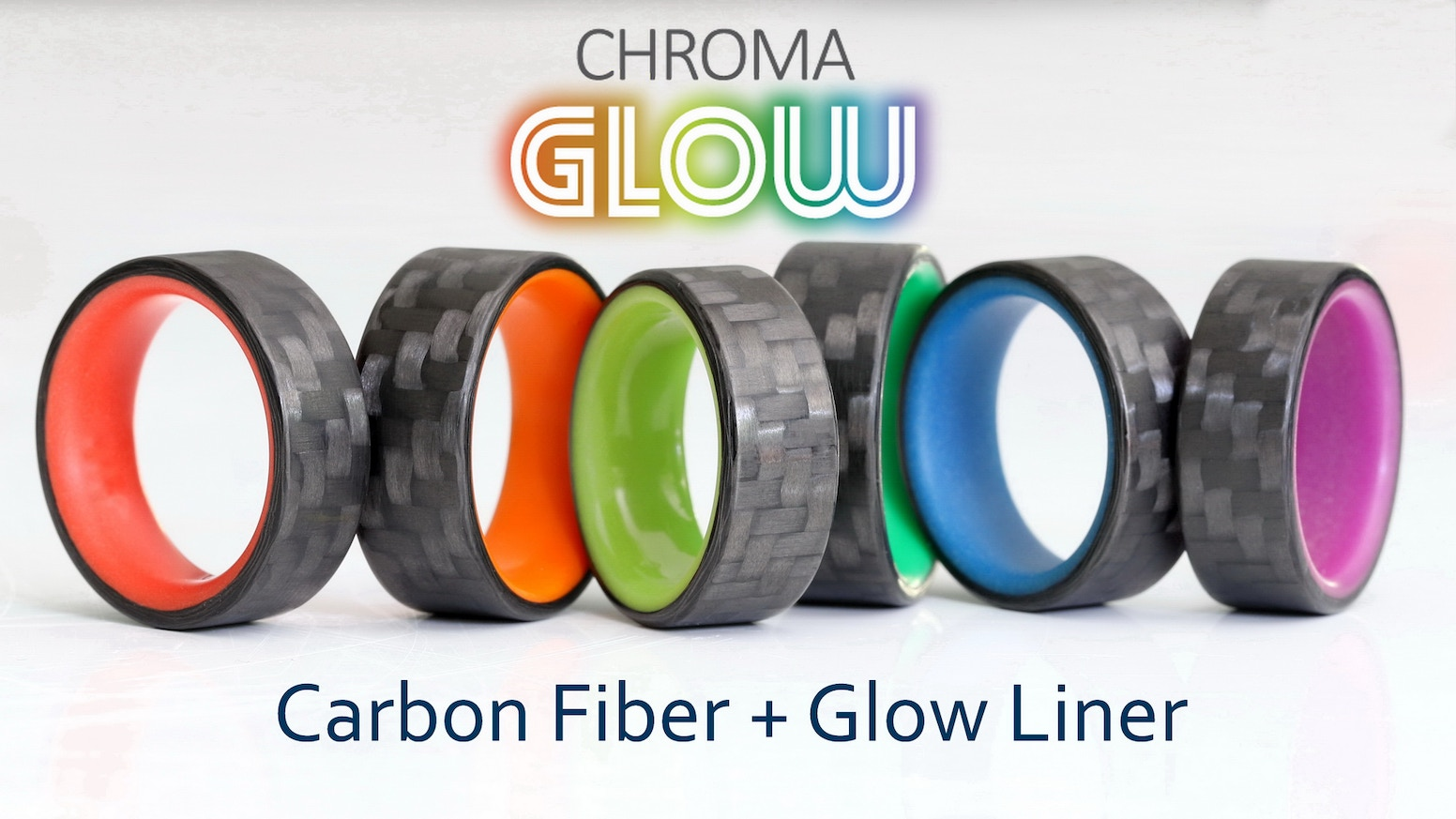 Wear your true colors with pride! Pure carbon fiber ring with a vibrant glowing liner in six rainbow-colored choices.
